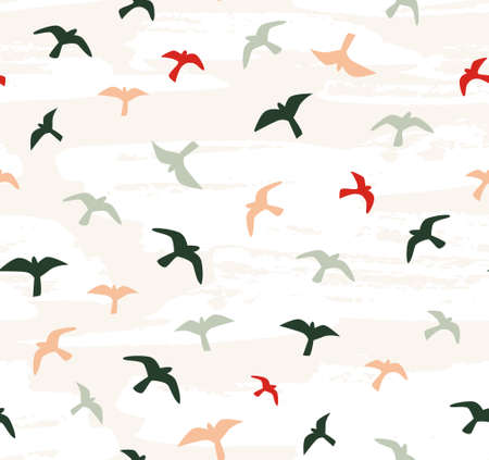 Seamless flying birds. Vector seamless pattern.