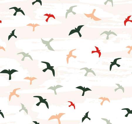 Seamless flying birds. Vector seamless pattern.