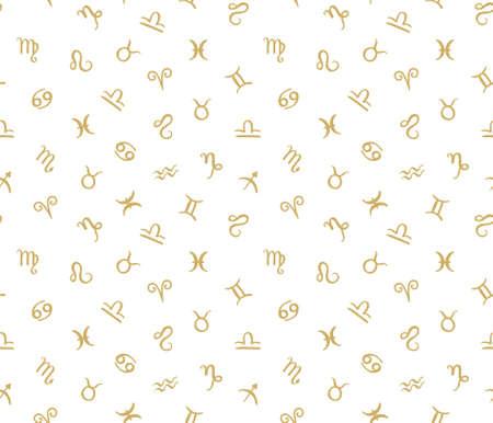 Patrón transparente de vector con signos del zodiaco del horóscopo. Fondo dorado inconformista. Foto de archivo - 73450607