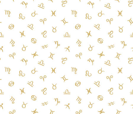 Vector seamless pattern with horoscope zodiac signs. Golden hipster background. Zdjęcie Seryjne - 73450607