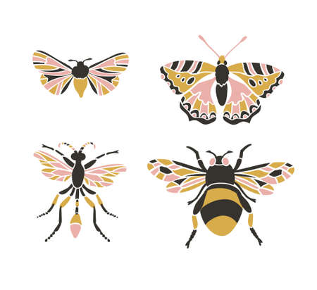 Bumblebee, butterfly, mol, apanteles. Insect icons, vector set. Abstract triangular style. Stok Fotoğraf - 73462240