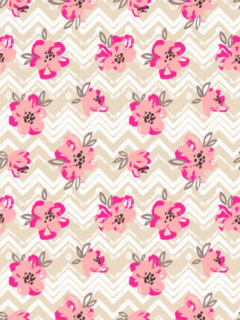 Seamless pattern with pink flowers on the zig zag background. Vector floral background. Illustration