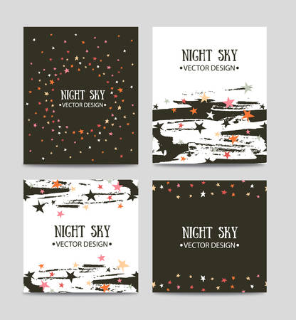 Set of bright hand drawn cards templates. Greeting card, invitation, best regards, post card design.