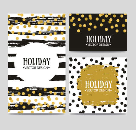 Vector set of beautiful hand drawn cards templates. Text message, lettering, gift. Congratulations, best regards, post card design. Ilustrace