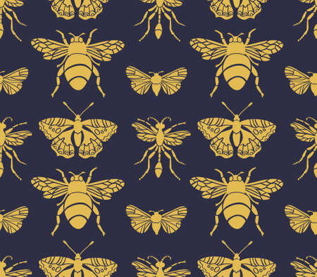 Hipster seamless pattern with Insects. Abstract triangular style. Vector background. Illustration