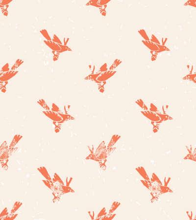 Vektor nahtlose Muster. Linolschnitt mit Vögeln. Vintage Hintergrund.