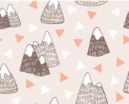 Vector seamless pattern with mountains landscape. Stylish hipster hand drawn background. Illustration