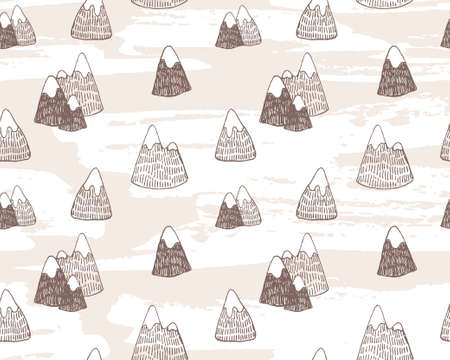 Vector seamless pattern with mountains landscape. Eastern hand drawn background. Illustration