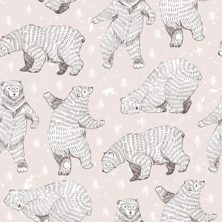 danced: Vector seamless background with hand drawn funny bears. Hipster stylish design.