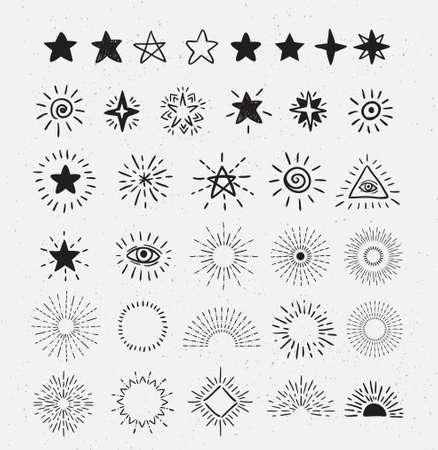 Set Of Vintage Sunburst and stars.  Hand-Drawn Vector Hipster Design Elements on the textured background. Illustration