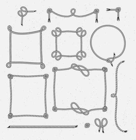 Ensemble de corde stylisée Vintage Hipster encadre des graphismes sur le fond grunge. Illustration vectorielle Banque d'images - 74229044