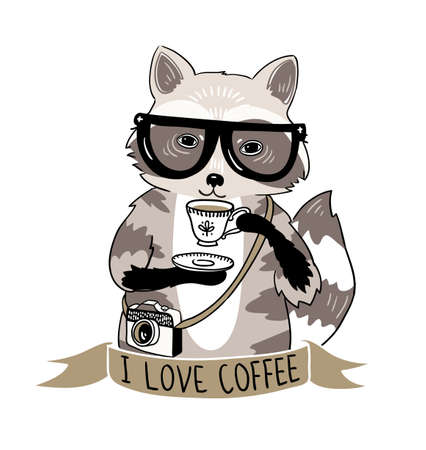 raccoon: Hipster raccoon vector illustration. Raccoon with coffee and glasses. Hipster animals.