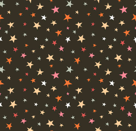 Seamless pattern with night sky and colorful hand drawn stars. Vector tiling background.