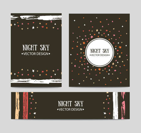 Vector set of bright hand drawn cards templates. Greeting card, invitation, best regards, post card design. Ilustrace