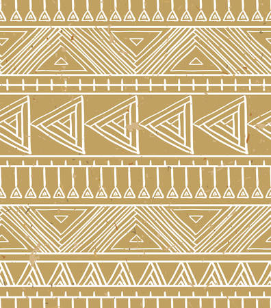 Abstract geometric seamless pattern. Aztec style pattern with triangle and line on the cardboard background. Vector illustration.