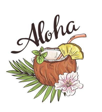 Tropic coconut cocktail. Vector Hand drawn illustration. Aloha background. Vektorové ilustrace