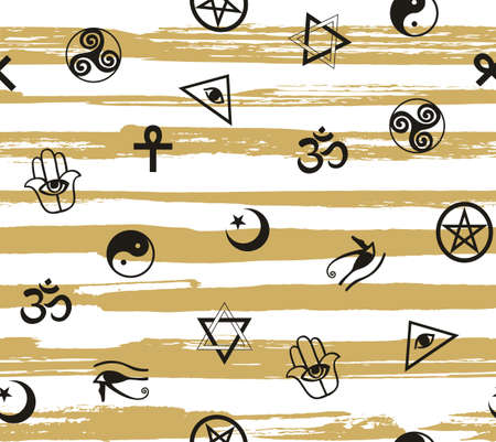 Seamless pattern with ancient sacral symbols on the striped background.