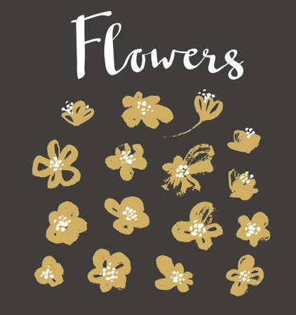 Set of vector stylish grunge gold flowers painted dry ink brush.