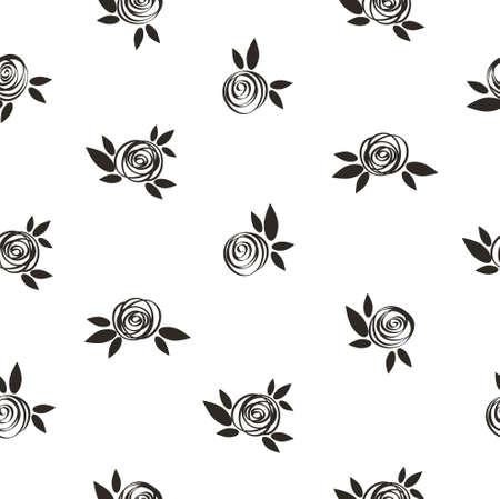 Seamless polka dot floral pattern with scrible  roses, vector vintage illustration. Illustration