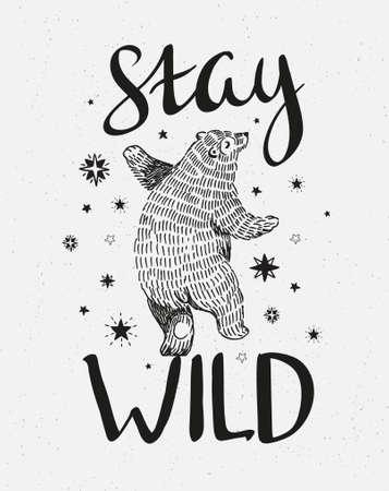 """손으로 그린 춤 곰입니다. 세련 된 글자와 함께 벡터 스케치 그림 """"야생 유지"""". 스톡 콘텐츠 - 74965817"""
