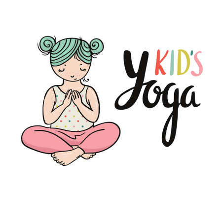 closed club: Kid yoga logo. Gymnastics for children. Healthy lifestyle poster. Vector illustration. Illustration