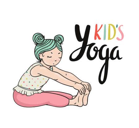 Kid yoga logo. Gymnastics for children. Healthy lifestyle poster. Vector illustration. Ilustração