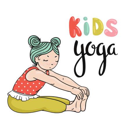 Kid yoga logo. Gymnastics for children. Healthy lifestyle poster. Vector illustration. Illustration