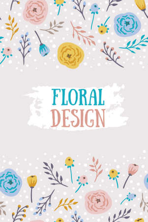 Vintage seamless background with field flowers and herbs. Vector dark floral pattern.
