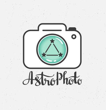 Space Photography-etiket in hipsterstijl. Vector illustratie.
