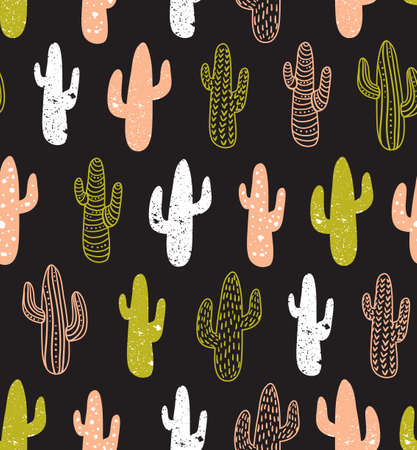 Hipster cactus vector seamless pattern. Cacti tribal boho background. Fabric print design. Succulent textile surface.