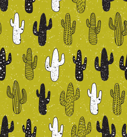 Hipster cactus seamless pattern. Cacti tribal boho background. Fabric print design. Succulent textile surface.