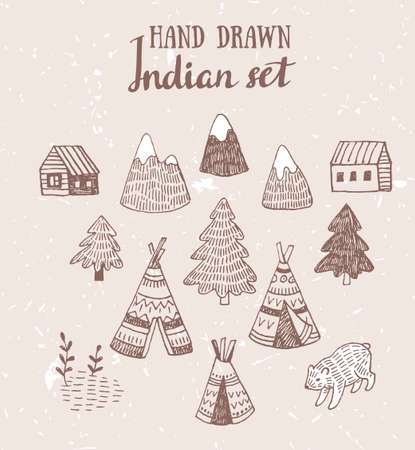 Set of North American Indian tipi homes with tribal ornament hand drawn with ink, elements of forest and mountains, bear and field.  Vector hand drawn design elements.