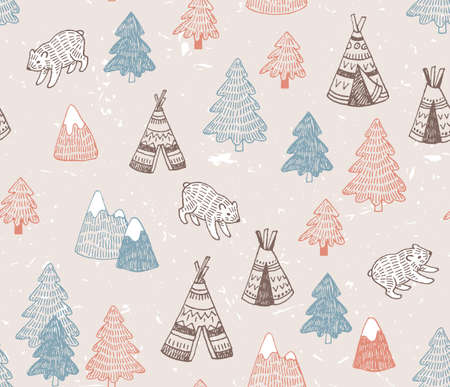 Seamless pattern with North American Indian tipi homes with tribal ornament, elements of forest and mountains, bear.  Vector hand drawn surface design. Illustration