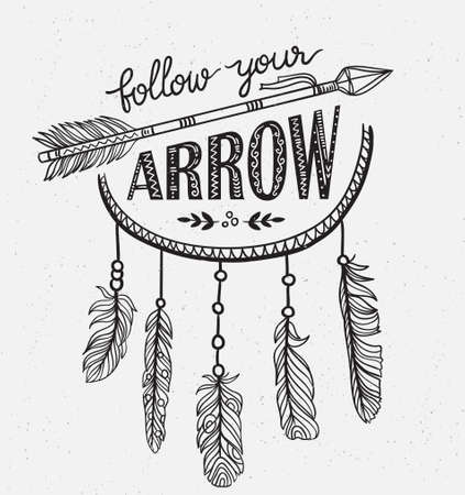Boho template with inspirational quote lettering - Follow your arrow. Vector ethnic print design with dreamcatcher.