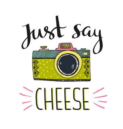 Retro photo camera with stylish lettering - Just say cheese. Vector hand drawn illustration. Print for your t-shirt design. Çizim
