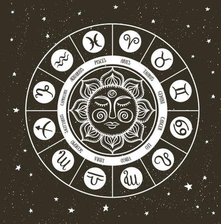 Zodiac circle with horoscope signs. Hand drawn Vector illustration. 일러스트