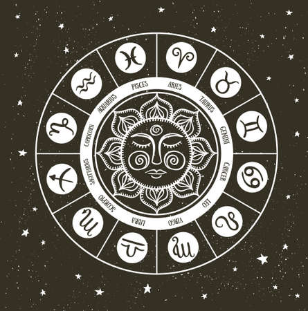 Zodiac circle with horoscope signs. Hand drawn Vector illustration. Stock Illustratie