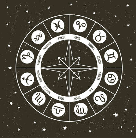 Zodiac circle with horoscope signs. Hand drawn Vector illustration. Illustration