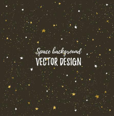 Sprankelende nachtenhemel met sterren en donkere ruimte. Vector hand getekend stijlvolle achtergrond. Hipstersjabloon voor poster, banner en bruiloft kaart ontwerp.