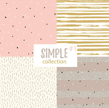 fabric textures: Vector seamless patterns with universal simple textures. Set of seamless backgrounds for fabric, gift wrap and wallpaper.