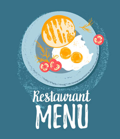 Vector cute  breakfast: eggs, toast bread, tomatoes and dill on a plate.  Vector colorful grunge hipster illustration isolated on white. Stylish background with food for restaurant menu. Illustration