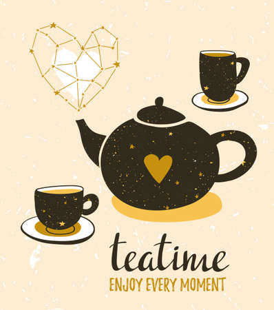 Stylish illustration with still life of tea. Set of teapot and cups. Hipster poster design. Vector background with space elements and lettering Enjoy every moment. Illustration