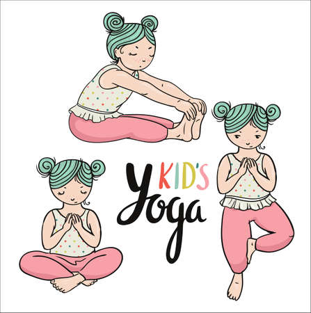 Kid yoga logo. Gymnastics for children. Healthy lifestyle poster. Vector illustration. Three girls in yoga poses. Sport and meditation elements.