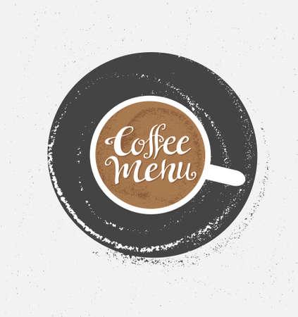 Koffie logo illustratie, design cafe menu, hipster grunge vector achtergrond.