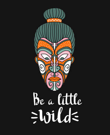 Maori mask. Vector print design. Stylish card with boho lettering. Tribal pattern. Illustration