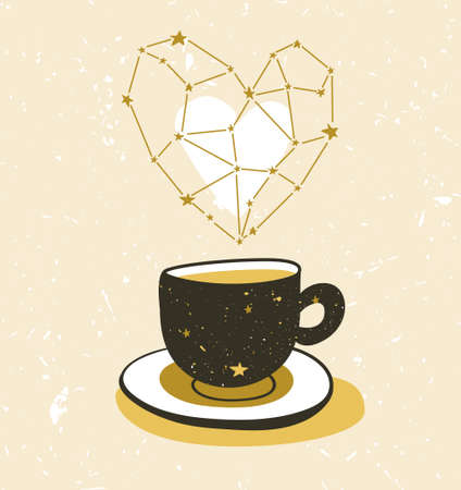 Stylish illustration with cup of tea or coffee.  Hipster poster design. Vector background with space cup and aroma star heart. Illustration