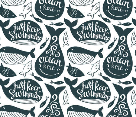 Sperm whale seamless pattern. Sea life vector background with stylish lettering. Great underwater dweller and little fish. Ornament for fabric marine style