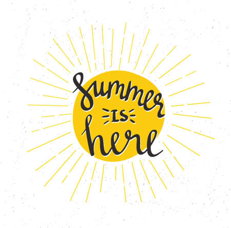 Hand Drawn summer lettering - summer is here. Phrase for invitation, sale, greeting card, prints and posters. Typographic design. Vector illustration.