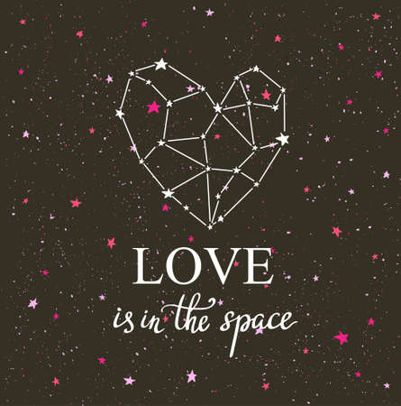 Starlit heart on the dark night sky  with stars. Vector background for valentines card, love poster and wedding, greeting, invitation cards. Constellation in the form of heart with hand lettering phrase love is in the space.
