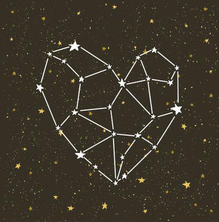 Door sterren verlicht hart op de donkere nachthemel met sterren. Vectorachtergrond voor de kaart van de valentijnskaart, liefdeaffiche en huwelijk, groet, uitnodigingskaarten.